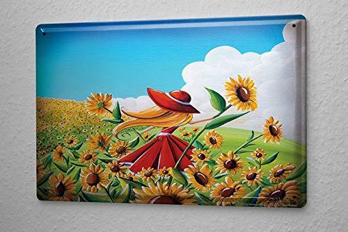 TEcell Tin Sign Flower Shop Sunflower Wall Decor Metal Sign