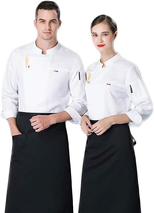 Chef Cocinero Manga Larga Poliéster Algodón Chaqueta Chef Single ...