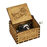 TTKCorps Delightful Engraved Vintage Wooden Music Box With Funny Rhythms Of Xmas| Christmas card enclosed For Christmas|New Year|Santa Claus|Noel (Merry Christmas)