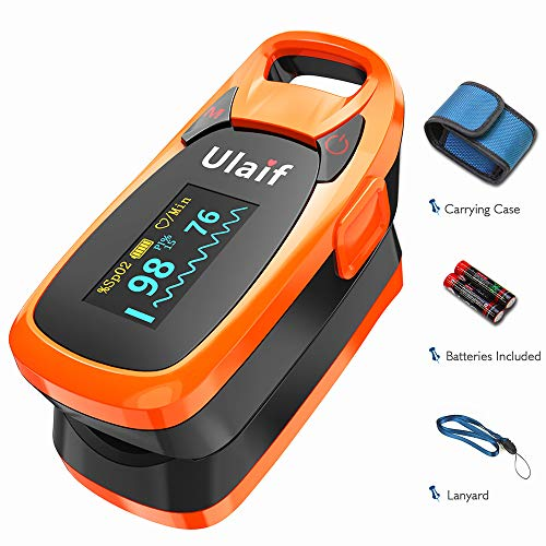 Pulse Oximetry Monitors - Pulse Oximeter Fingertip, Ulaif OLED Portable Oximetry Blood Oxygen Saturation Monitor SpO2 Finger Pulse Oximeter Readings with Carrying, Case Lanyard & Batteries FDA Cleared
