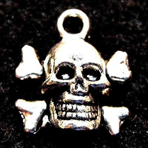 50Pcs. Wholesale Tibetan Silver Halloween Skull & Cross Bones Charms Drops Q1238 Crafting Key Chain Bracelet Necklace Jewelry Accessories Pendants