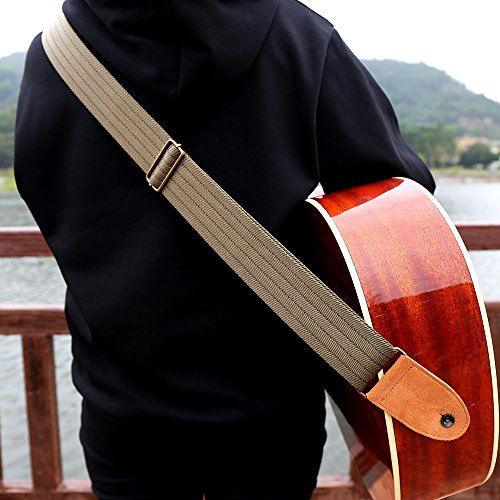 (Guitar Strap with Suede Leather Ends for Electric Guitar, Acoustic Guitar and Bass, Includes 2 Safety Locks, 1 Leather-made Guitar Strap Button, Best for Guitar Players (Brown))