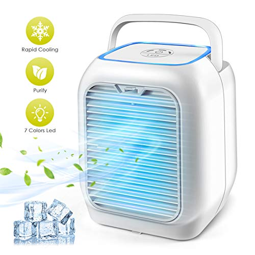 (Personal Air Conditioner Fan, Air Personal Space Cooler Small Desktop Fan Quiet Personal Table Fan Mini Evaporative Air Circulator Cooler Humidifier Bladeless Quiet for Office, Dorm, Room, Outdoor)