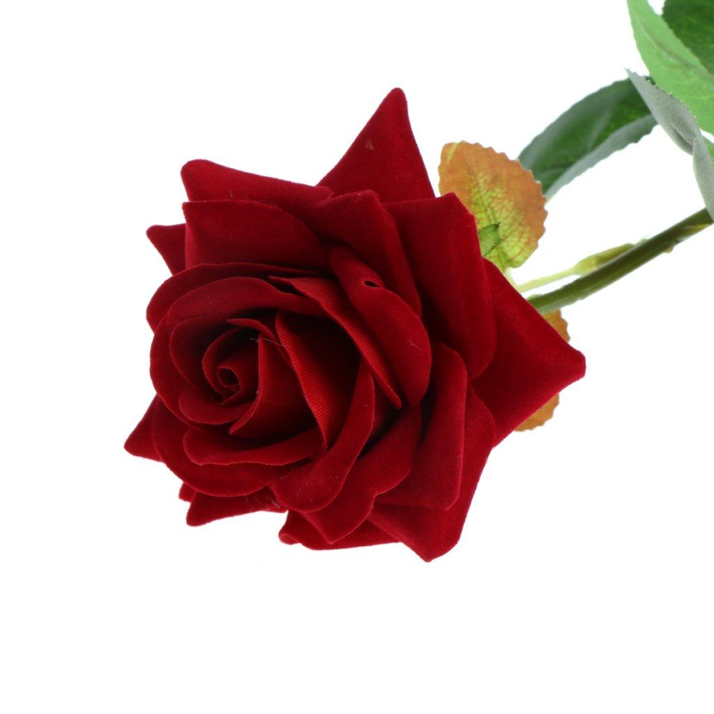 Bushyou Single Stem Artificial Flower Fake Silk Rose Decorations
