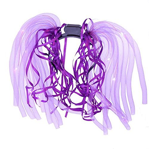 dazzling toys LED Light Up Noodle Hair Headband Party Dreads - Purple -