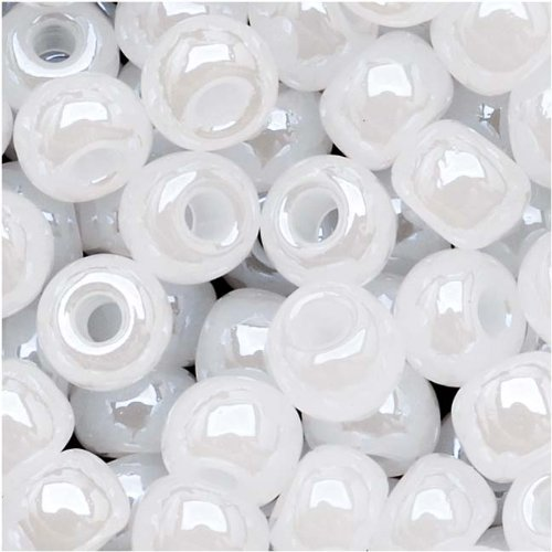 Czech Seed Beads Size 6/0 White Pearl (1 Ounce)
