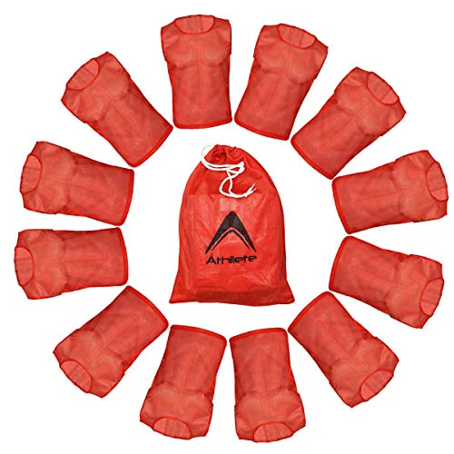 Athllete DURAMESH Set of 12- Scrimmage Vest/Pinnies/Team Practice Jerseys with Free Carry Bag. Sizes for Children, Youth, Adult and Adult XXL (Red, Large)