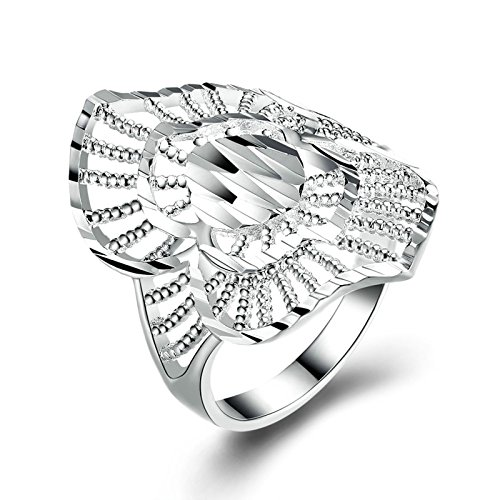 (MoAndy Silver Plated Ring for Men Women Hollow Bead Wide Band Silver Size 8)