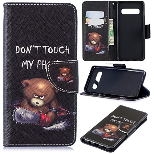 Galaxy S10 Case, S10 Case, iYCK Premium PU Leather Flip Folio Magnetic Closure Protective Shell Wallet Case Cover for Samsung Galaxy S10 6.1inch with Kickstand Stand - Electric Saw Bear