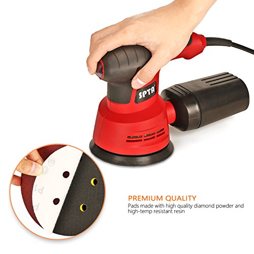 SPTA Random Orbit Sander, 2.4A 280W 5-Inch 6 Variable Speed Orbital Sander/Polisher Electric Sander,With 2 Polishing Buffing Pads and 12 Sanding Discs Kit for Home Decoration and DIY by SPTA (Image #5)