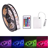 LED Strip Lights, RGB 6.56ft 60 LED Battery Waterproof Flexible Rope Ribbon Lights TV Backlight Battery-powered with Wireless Remote Control,Decoration Lights for DIY Party Living Room (2M/6.56ft)