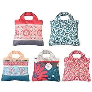 Envirosax Reusable Grocery Bags- Set of 5,Eco Friendly Foldable Shopping Tote Bag