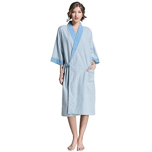 b502d17044 BabYoung Women s Cotton Bathrobes Casual Short Sleeve Plus Size Robes 3XL  Couple Nightgown Summer Autumn Sleepwear