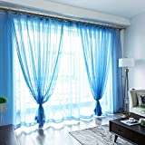 Princess Wind Blackout Curtain,Sheer Curtains,Easy to Wash Prevent Sunlight for Floor to Ceiling Bay Window Bedroom(1 Curtain)-Blue 100x270cm(39x106inch)