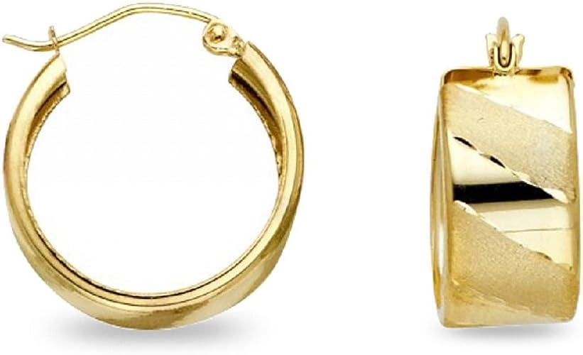 Round Hoop Earrings 14k Yellow /& White Gold Diamond Cut Satin Finish French Lock