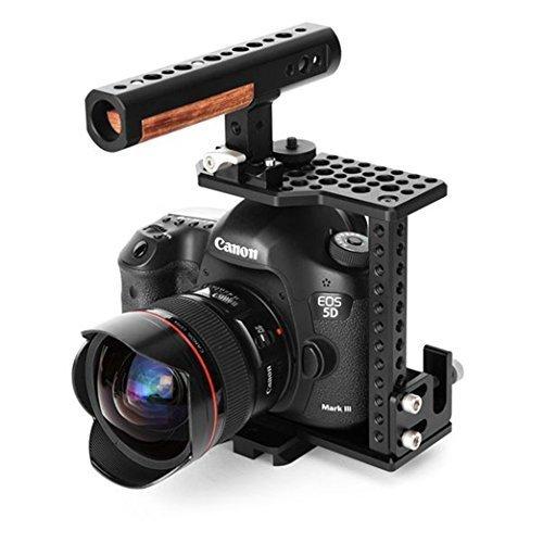 Thorアルミニウム合金カメラビデオケージFilm Movie Makingキット、( 1 )ビデオケージ取り外し可能( 1 )トップハンドル( 1 )ケーブルクランプ( 1 )互換プレート( 1 )ホットシューマウントfor Canon 5d mk2 / mk3   B019Z678GI