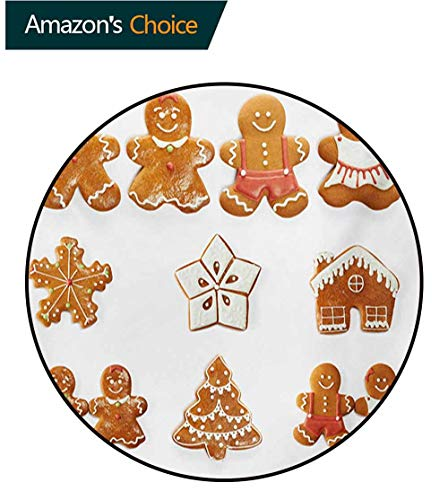 RUGSMAT Gingerbread Man Washable Creative Modern Round Rug,Vivid Cute Christmas Gingerbread Biscuits Set Snowflake House Tree Coffee Table Mat Non-Skid Living Room Carpet,Diameter-63 Inch