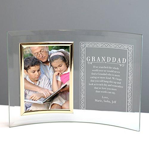 Crescent Glass Picture Frame - Custom Granddad Jade Glass Crescent with Picture Frame