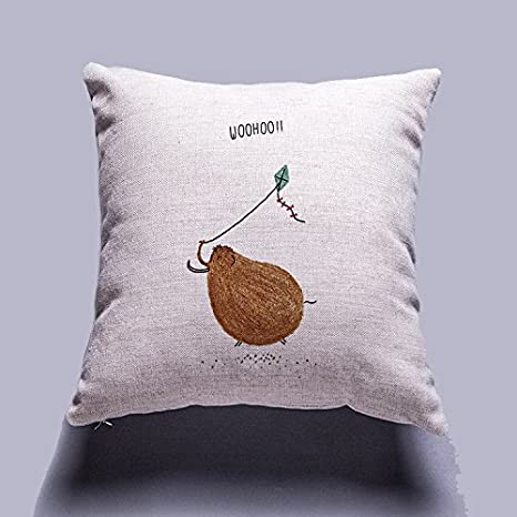 Home is where the lama is Colorful Hand Draw Cartoon Animals Watercolor Art Design Unique Cotton Linen Home Decorative Cushion Cover Throw Pillow Case 18x18 inch