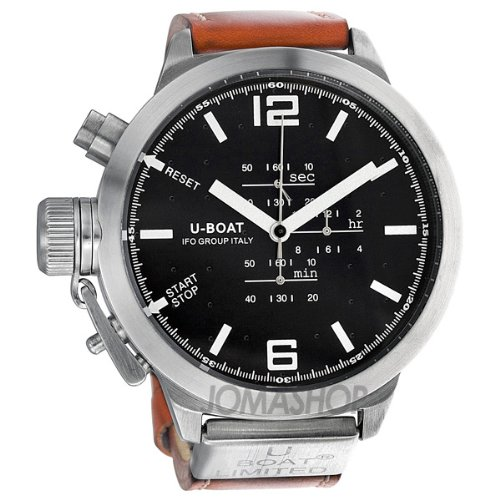 U-Boat Black Dial Light Brown Leather Mens Watch 378