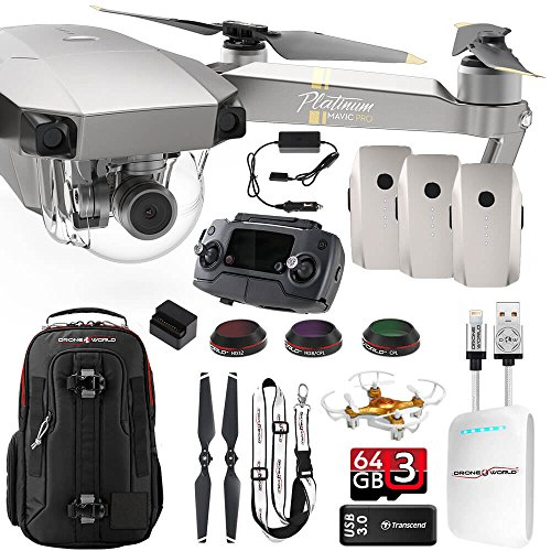 DJI Mavic PRO Platinum UPGRADE COMBO w/ Backpack,3 Batteries, Lens Filters, 64gb+16gb MicroSD, Sunshade, Power Bank Adapter, Battery Bank, iPhone Cable, Lanyard & FREE Mini - Filter Review Platinum Lens