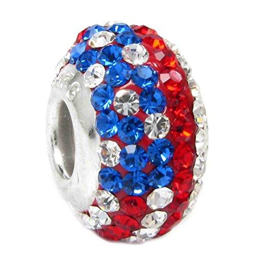 Usa Flag Charm - Sterling Silver American Flag Crystal European Bead Charm
