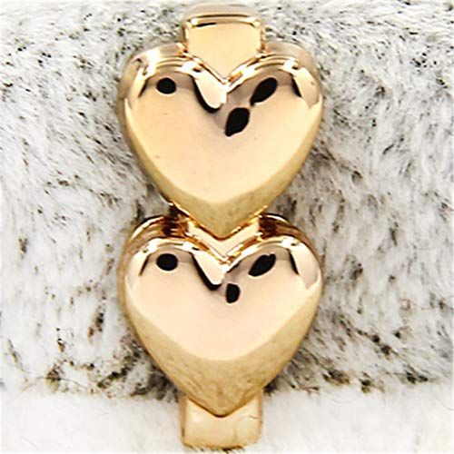 FOMBZQGDKUZ Jewelry Crystal Double Hearts Flower Angel Wings Leaf Apple Claddagh Slide Charms Keeper Heart Gold