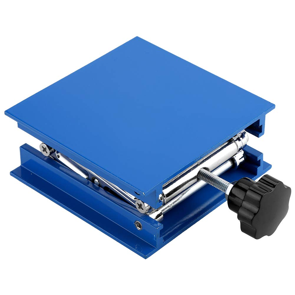 Lab Lifting Stand, 100 x 100mm Blue Electroplated Aluminum Lab Lifting Platform Stand Rack Scissor Jack Lifter
