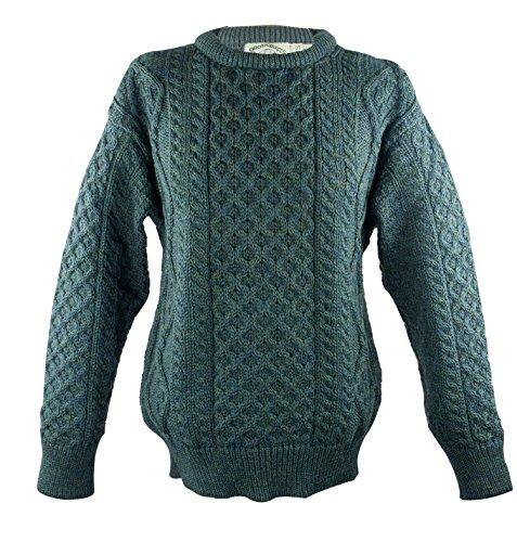 100% Pure New Wool Irish Springweight Sweater (Small, Moss) (Wool Flower Neck Sweater)