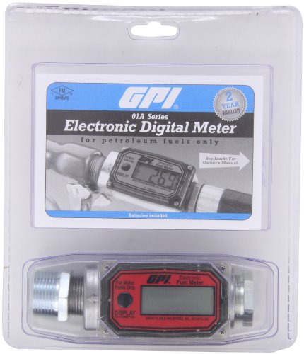 GPI 113255-1, 01A31GM Aluminum Turbine Fuel Flowmeter with Digital LCD Display, 3-30 GPM, 1-Inch FNPT Inlet/Outlet, 0.75-Inch Reducer Bushings by GPI® The Proven Choice® (Image #1)