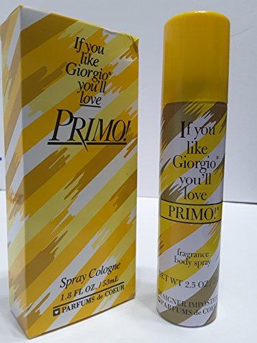 Primo By Parfums De Coeur For Women. Cologne Spray 1.8-Ounce and Fragrance Deodorant Body spray 2.5 Oz bundle Giorgio Deodorant Cologne