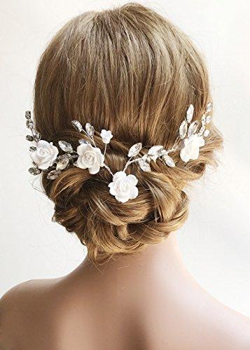 Missgrace Crystal Bridal Flower Headband Comb Wedding Hairpiece Hair Accessories -Women Evening Party Flower Crown