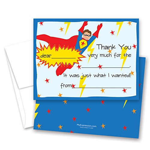 20 Super Hero Kids Fill-in Birthday Thank You Cards]()