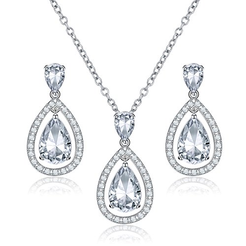 LILIE&WHITE CZ Teardrop Necklace and Earrings Set Wedding Jewelry Set for Brides & Bridesmaids Hypoallergenic Sterling Silver Post