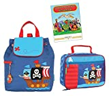: Stephen Joseph Quilted Backpack, Lunch Box, and Coloring Book Set, Pirate