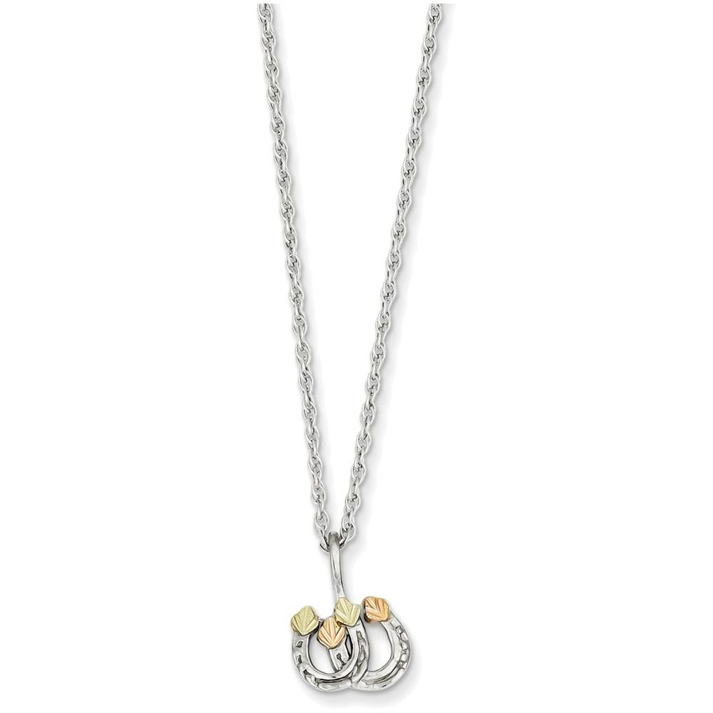 Finejewelers Sterling Silver Leaves Double Horseshoe Necklace