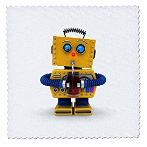 3dRose Yellow Toy Robot Trying to Drink with a Straw - Quilt Square, 14 by 14-Inch (qs_223215_5)