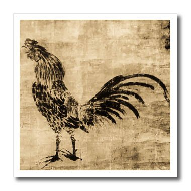 3dRose Scenes from the Past Magic Lantern Slides - Crowing Rooster Sesshu Toyo 1500s Vintage Japanese Folk Art - 6x6 Iron on Heat Transfer for White Material ()