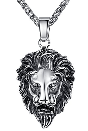 Men's Stainless Steel Lion Biker Pendant Necklace, 24