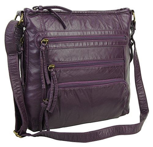 Pockets Women Multiple Purse for Crossbody Zip Vegan Soft Purple Bag with Shoulder Leather zctPvwq0