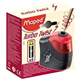Maped Turbo Twist 1-Hole Battery Operated Pencil Sharpener for Standard Pencils, Red and Black (026030)