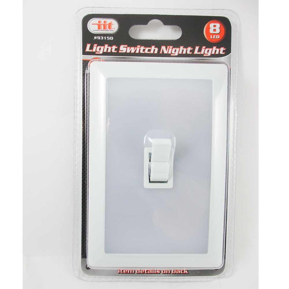 8 LED Peel Stick Switch Cover Wall Night Light White Tool Box Garage ...