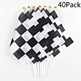 40Pack Checkered Flag Racing Polyester Flags On Plastic Stick Black & White Racing Pennant Banner Flags, Provide Decorations Supplies For Racing, Football Matches, Birthday Parties(8 x 5.5Inch)