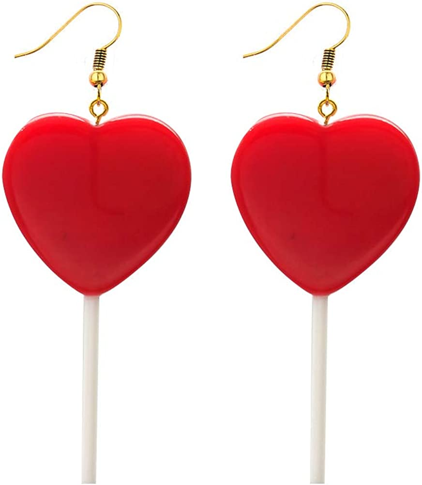 Cute Heart Lollipop Candy Color Simulation Food Dangle Earring for Women Girl Funny Jewelry-Red