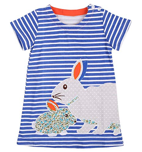 (Easter Day Girls Rainbow Striped/Bunny Cotton Dress Cute Pullover Blouse Top (6-7 Years, Easter bunny))