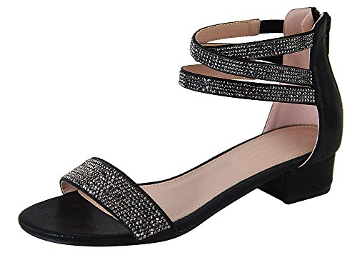 Cambridge Select Women's Open Toe Single Band Crisscross Ankle Strappy Crystal Rhinestone Low Chunky Block Heel Dress Sandal (7.5 B(M) US, Black) (Womens Black Dress Heel Shoes)