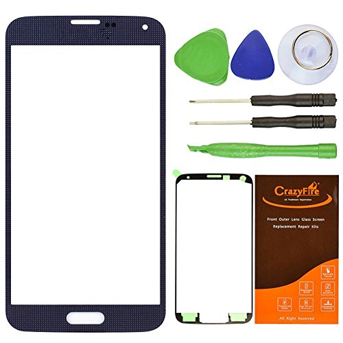 CrazyFire Black New Front Outer Glass Lens Screen Replacement For Samsung Galaxy S5 SV G900 G900A G900P G900R4 G900T G900V+Adhesive Tape+Tools Kit