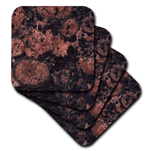 Baltic Granite Brown (3dRose CST_97936_3 Baltic Brown Granite Print-Ceramic Tile Coasters, Set of 4)