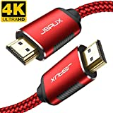 HDMI Cable 6.6ft, JSAUX [ 4K UHD HDMI 2.0 ] High Speed Braided Cord Compatible Ethernet & Audio Return - Video 4K 2160p HD 1080p 3D,TV Xbox Playstation PS3/4 (Red)