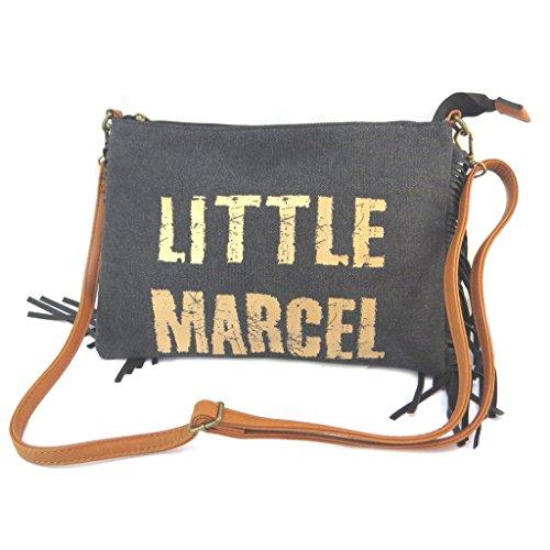 5x1 29x20 noir Little P2640 Marcel doré Sac franges pochette cm 00Opw8x